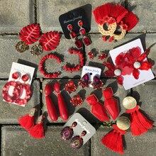 Ztech красный кулон Za серьги ручной работы Смола Цветочные бусины-кристаллы массивные свадебные серьги вечерние висячие серьги подарок