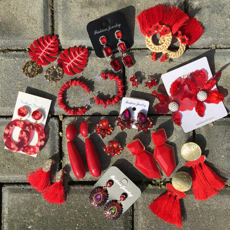 Ztech Red Pendant Za Earrings 2019 Handmade Resin Flower Crystal Beads Statement Bridal Earring Party Dangle Drop Earrings Gift
