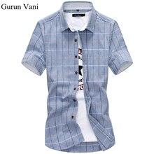 100% хлопок Мужская одежда Рубашки с короткими рукавами модные Повседневное Slim Fit плед Для мужчин Рубашки для мальчиков брендовая одежда CHEMISE Homme C28