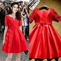 2017 лето новый приход красный знаменитости платье для женщин с рукавами кружева элегантная лук вечерние платья короткие на складе красный ковер