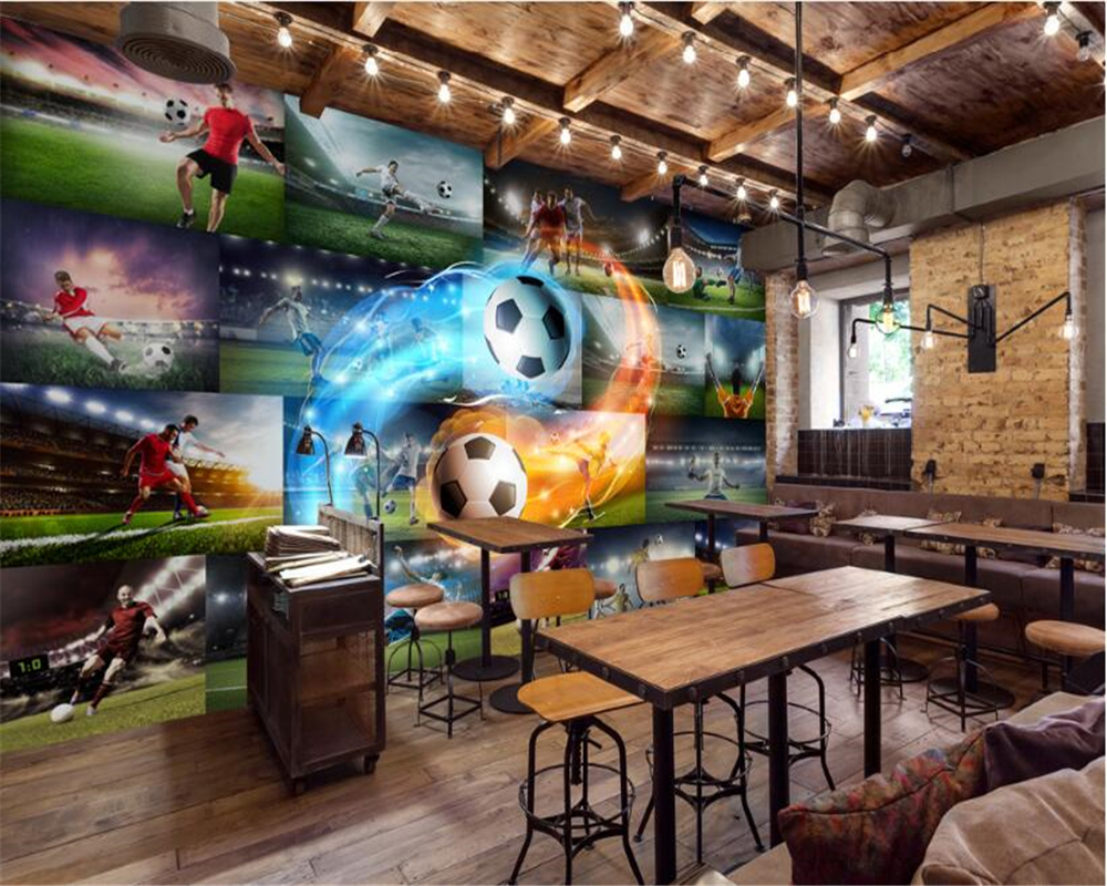 US $8 85 OFF Beibehang Senior Indoor Fashion Wallpaper 3D Stereo Football Star Flame Photo Wall Bar KTV Backdrop Wall Papel De Parede
