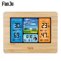 FanJu FJ3373 Weather Station Digital Thermometer Hygrometer Wireless Sensor Forecast Temperature Watch Wall Desk Alarm Clock|Temperature Instruments| |  -