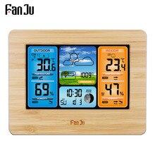 FanJu FJ3373 תחנת מזג דיגיטלי מדחום מדדי לחות חיישן אלחוטי תחזית טמפרטורת שעון קיר שולחן שעון מעורר