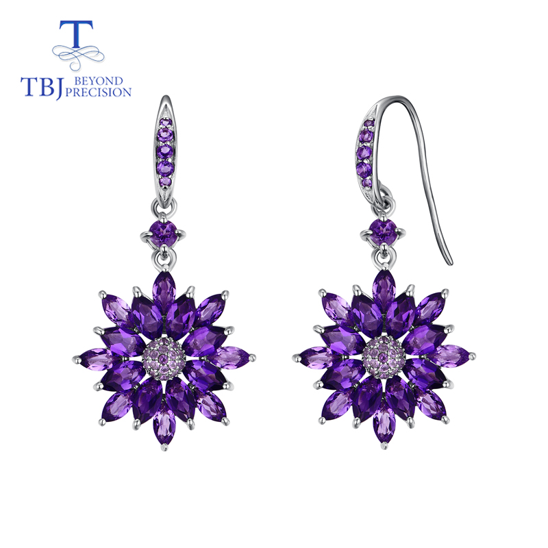TBJ,Flower shape vintage drop dangle earring with natural african amethyst gemstone fine jewelry for women daily wear gift wwd women s wear daily 2012 11 26