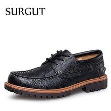 SURGUT Marca Superior de Los Hombres Clásicos Zapatos Oxford Pisos de Negocios de Estilo Hecho A Mano con cordones de Cuero Real Cena Ligera Cómoda de Los Hombres zapatos