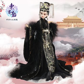 Fortune days bjd doll East Charm Chinese style black elegent outfit stand box 35cm headdress souvenir toy gift