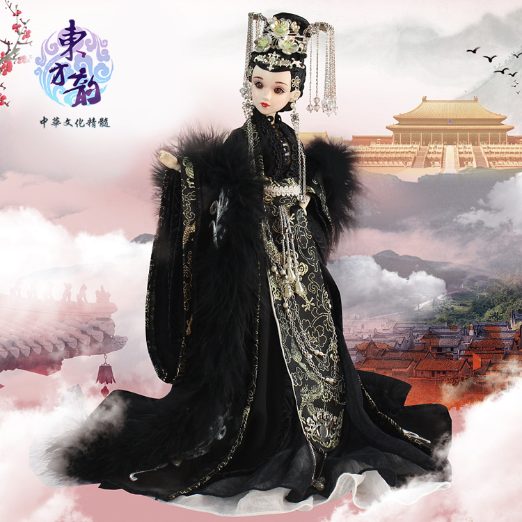 Fortune days bjd doll East Charm Chinese style black elegent outfit stand box 35cm headdress souvenir toy gift цена и фото