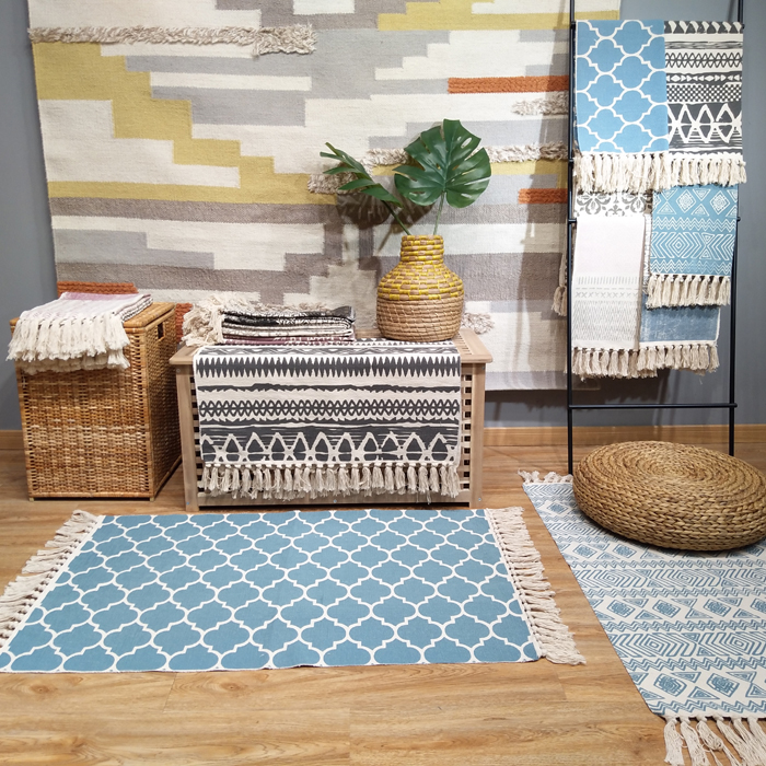 Kilim Turkish Blue 100 Cotton Living Room Carpet