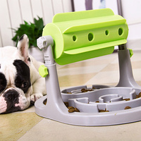Newly Pet Dogs Food Feeder Toy Slow Down Eating Training Roller Shaped Food Dispenser Toys