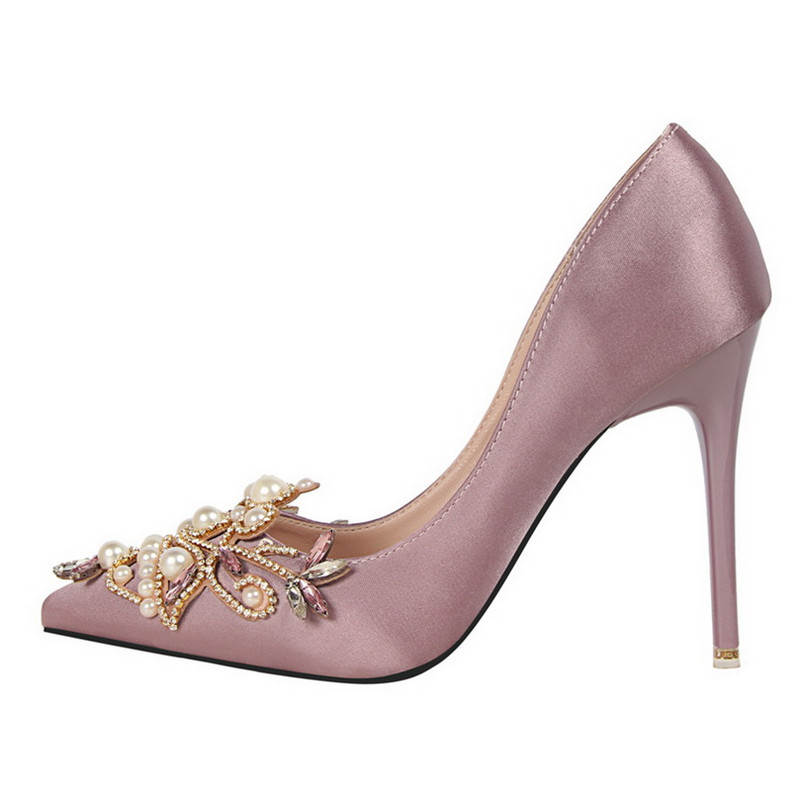 Pumps Brand Women s Crystal Pumps Pearl Applique Pointed Toe ... 01b1edc8b95e