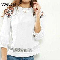 VOGUE N New Womens Ladies Lace Mix 3 4 Sleeve Floral Embroidered White Blouse Tops Shirt