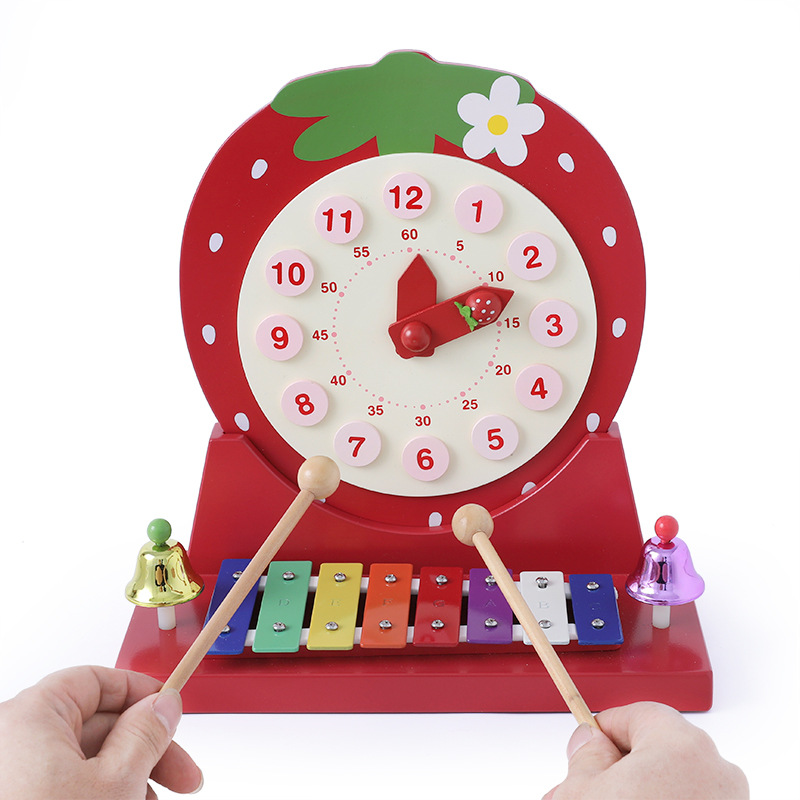 Enfants en bois fraise horloge avec bells Infantile musique illumination main frapper bébé de piano xylophone jouets