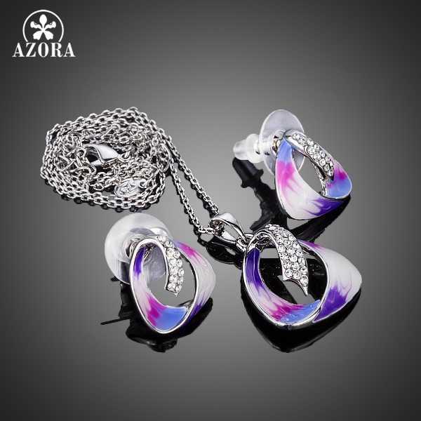 AZORA Unique attrayant peinture à l'huile modèle Stellux boucles d'oreilles en cristal autrichien et pendentif collier ensembles de bijoux TG0168