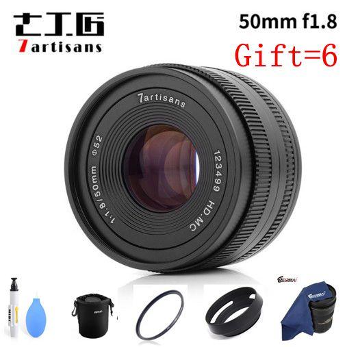 7 artisans 50mm F1.8 Grande Ouverture manuel Micro mise au point fixe Portrait caméra lentille pour Canon EOSM Sony E M4/3 et Fuji FX caméra