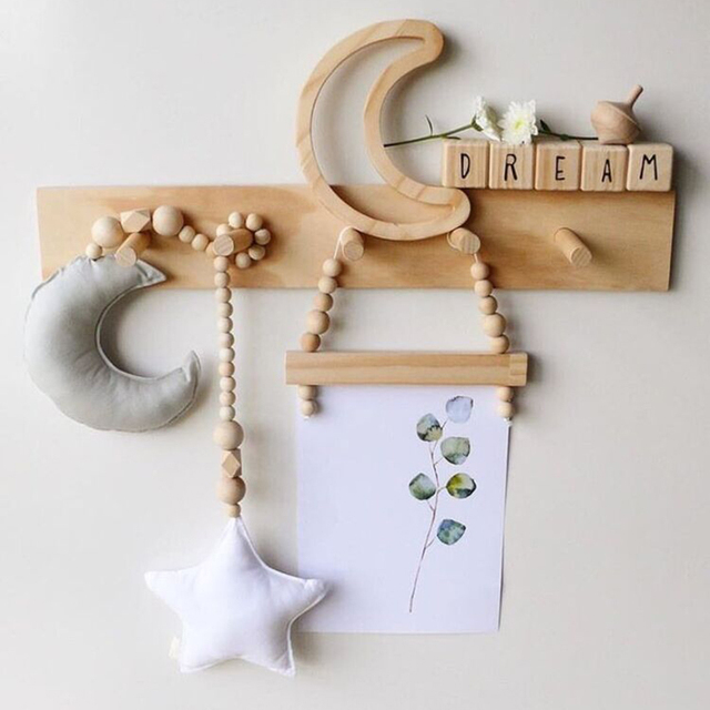 Baby bed ornaments Moon Star wood beads Colorful Baby room kid Tents Decorative Ornaments Stroller Accessories Baby bedding sets