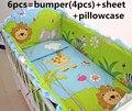 Promoção! 6 pcs Baby Bedding Set 100% algodão cama leão berço, Incluem ( amortecedores + ficha + travesseiro cobrir )