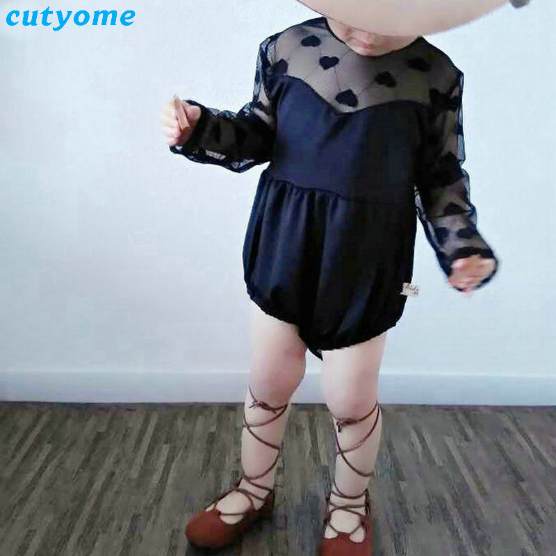 Cutyome 2017 Black/White Lace Rompers For Baby Girls Princess Jumpsuits Clothes O Neck Long Sleeve Infantil Newborn Pijama 4-24M baby rompers o neck 100