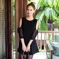 Ropa barata de verano estilo sexy party night club vestido 2015 negro ocasional partido vestido de noche elegante vestido de las mujeres más el tamaño