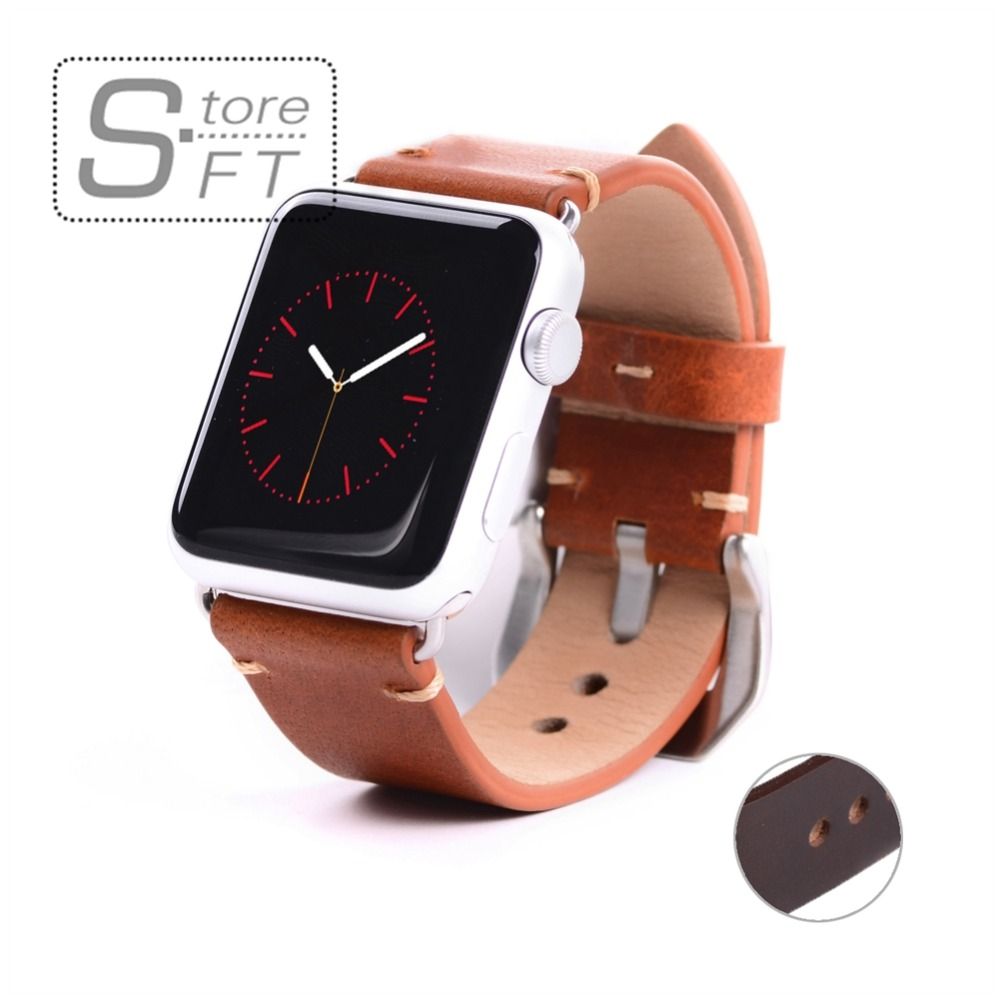 fit apple Watch Band,38 42mm Black Adaptor High Quality Imported Vegetable Tanned Leather watchband for apple iwatch Strap cover eache 38mm 42mm dark brown replacement watch straps fit for apple watch vegetable tanned leather watch band for women or man