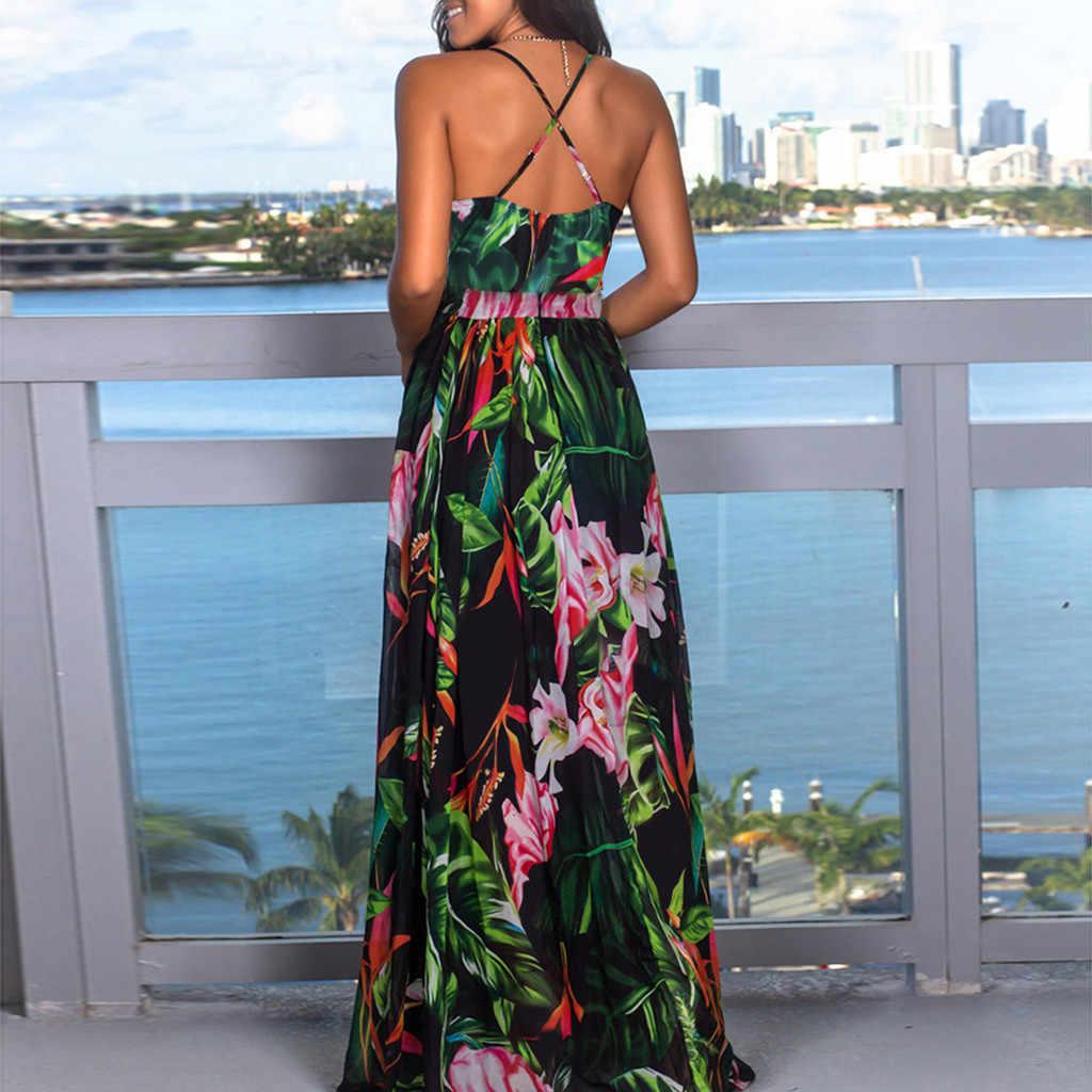 ZOGAA קיץ שמלת 2019 נשים פרחוני הדפסת Bodycon ארוך שמלת Boho סקסי שמלות אישה מסיבת לילה vestidos elegantes כיסא גלימה