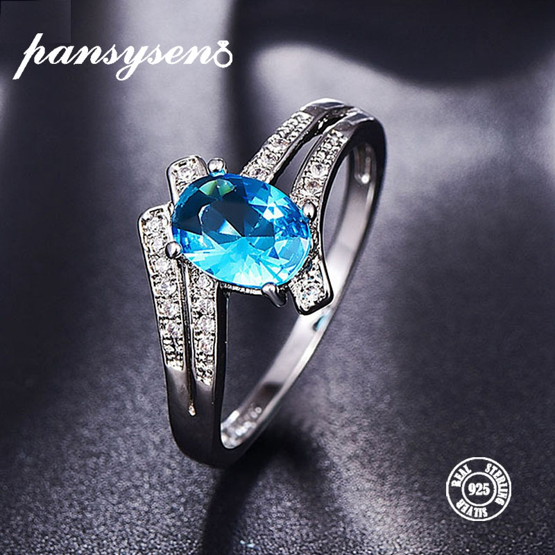 PANSYSEN Solid 925 Sterling Silver Aquamarine Gemstone Rings Vintage Shiny Classic Engagement Wedding Ring Fine Jewelry 6 COLORS