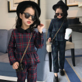 5 7 9 11 13 Years 2017 Brand Spring Plaid 2pcs/set Fashion Kids Cotton School Tracksuit Uniform Suit Girls Clothing Sets Costume