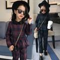 5 7 9 11 13 Years 2017 Brand Spring Plaid 2pcs/set Fashion Kids Cotton School Tracksuit Uniform Suit Girls Clothing Sets Costume