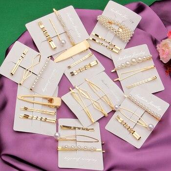Hesiod, diadema con pinza de pelo de Metal y Perla dulce, peine dorado, horquilla, pasador, tocado con horquillas, accesorios, herramientas de estilismo de belleza