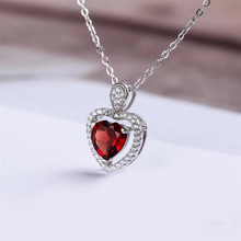 factory wholesale new fashion romantic heart red garnet 925 sterling silver natural gemstone jewelry set for wedding engagement