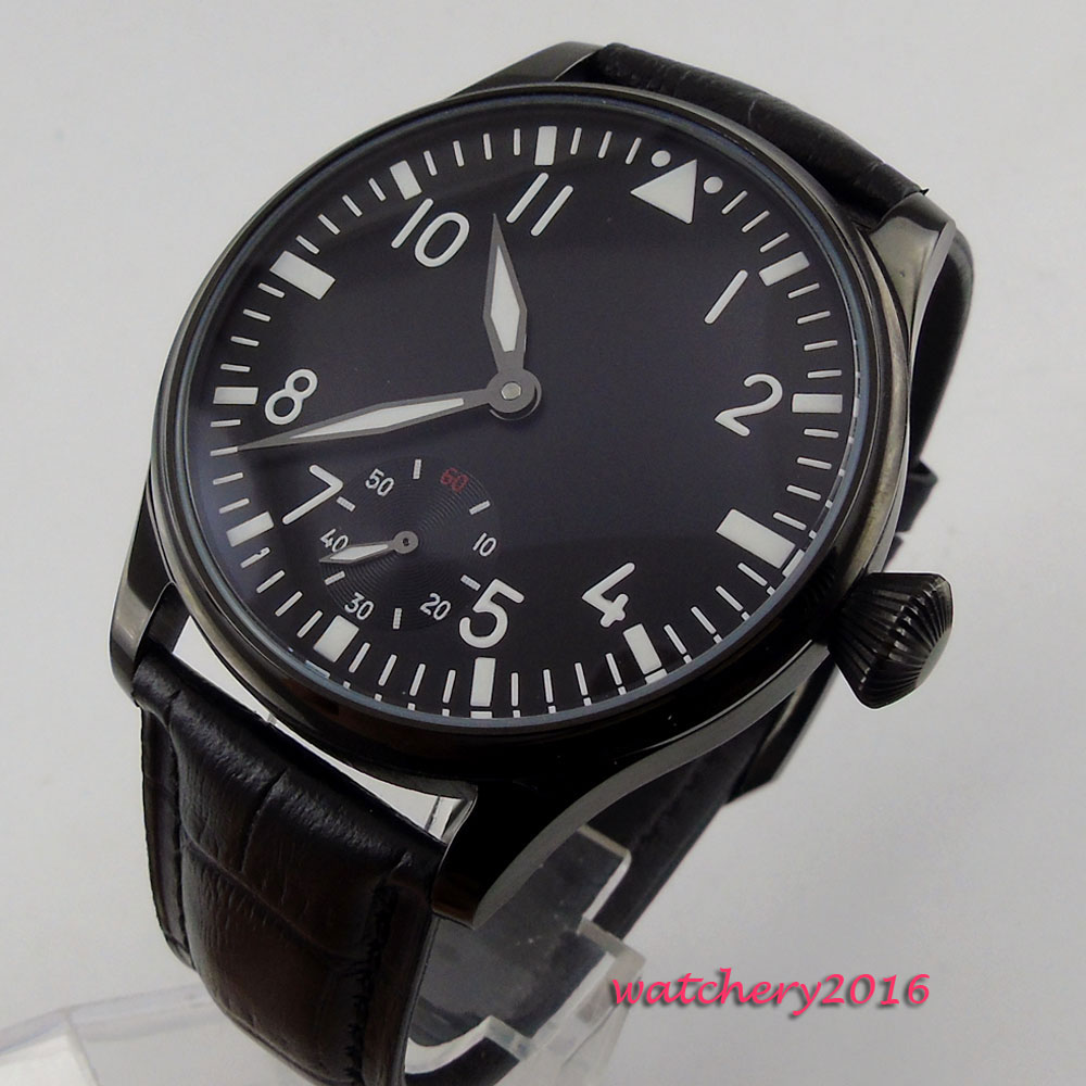44mm Parnis Black dial leather Strap Black PVD coated top brand Luxury luminous marks 6498 hand winding Mechanical Men's Watch светильник technolux tlwp лпп эпра без ламп 2х36вт t8 ip66 пылевлагозащищенный