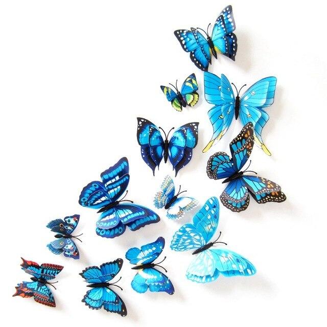 12 pcs 3D Dimensional/Double Butterfly Home Decor Frigorífico Ímã de Geladeira Adesivos de Parede Borboleta para Casa Decoração Do Partido