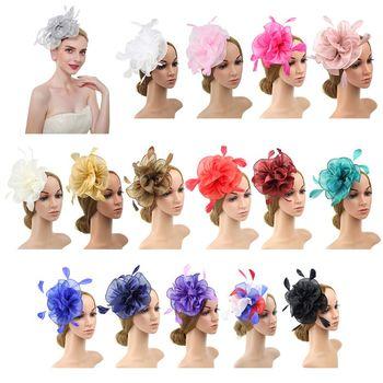 16 Color Women Large Ruffles Flower Fascinator Hat Vintage Solid Color Multi Feather Kentucky Derby Tea Party Duckbill Bridal Bridal Headwear