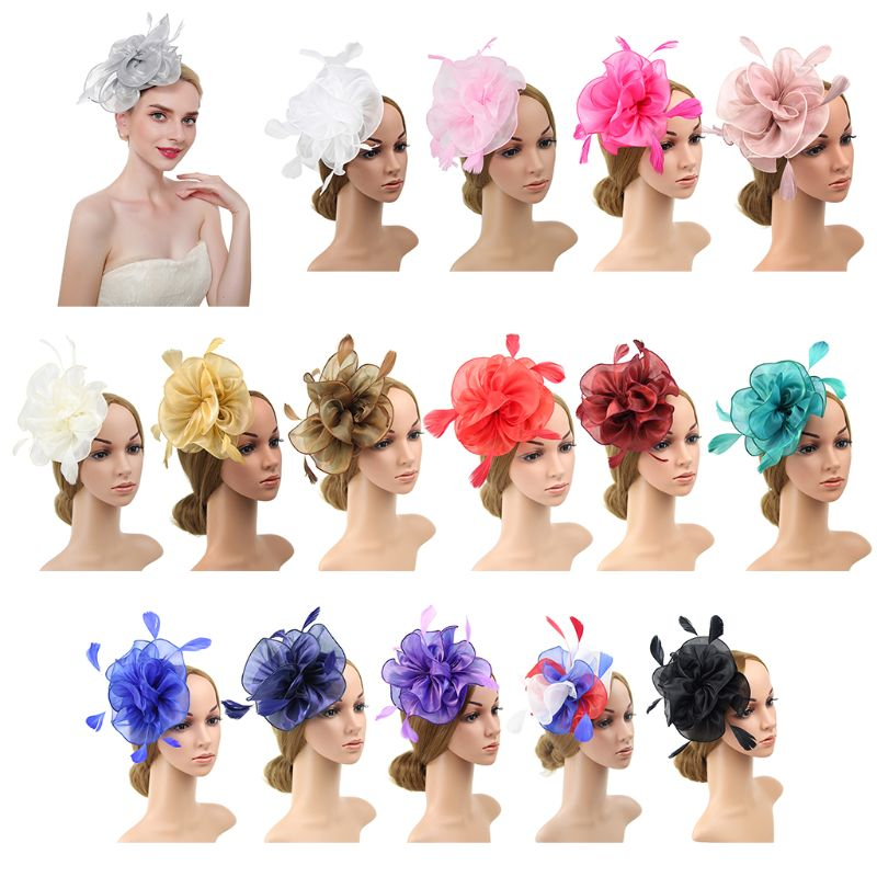16 Color Women Large Ruffles Flower Fascinator Hat Vintage Solid Color Multi Feather  Tea Party Duckbill Bridal