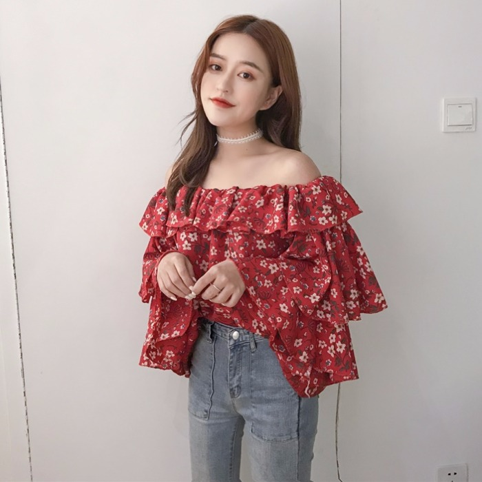 2018 New Womens Printing Fashion Blouses V-neck Lantern Sleeve Bohemian Short Design Holiday Shirts Sexy Lace Up Vintage Shirt Women's Clothing