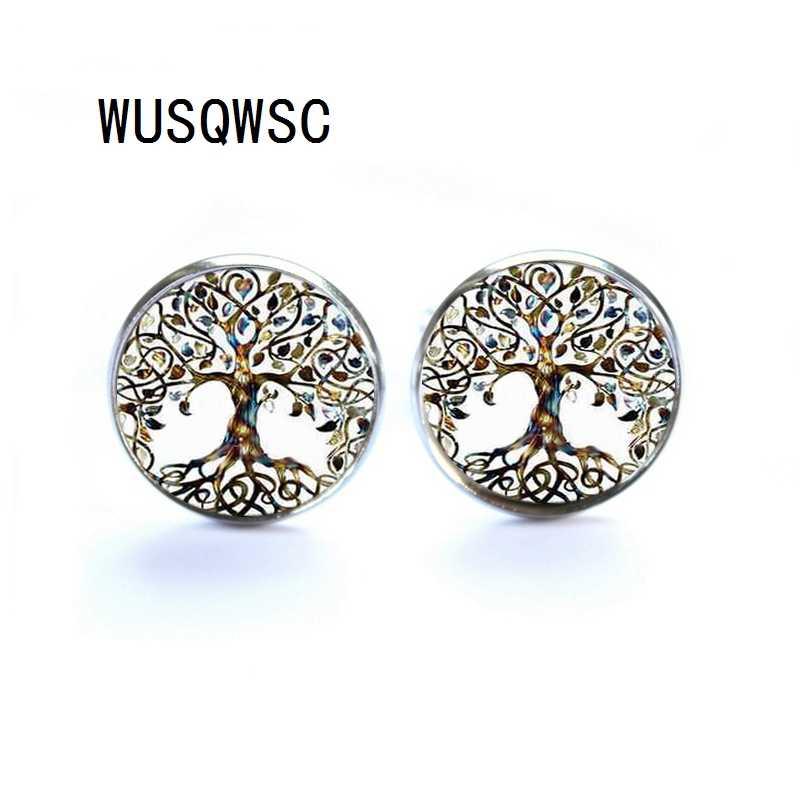 WUSQWSC Luxe Merk Manchetknopen met Zilver/Brons Plated Glas Cabochon Boom van Het Leven Patroon Nieuwigheid Manchetknopen voor Mannen Bruiloft