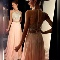 Elegant Chiffon Two Pieces A Line Evening Dresses 2018 Beaded Prom Dresses O Neck Sweep Train Sleeveless Prom Gown Evening Party