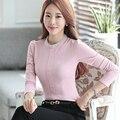 Diamantes O Pescoço collar desgaste do Outono manga longa Rosa mulheres blusa camisa casual feminina estilo elegante Zíper moda slim tops
