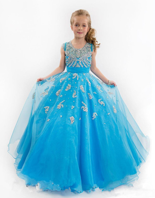 Crystals Beaded Pageant Gowns for Little Girls Crew Neck Luxury ...