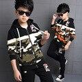 4 6 8 10 12 14 año Otoño Niños Moda Camuflaje Ropa de Los Niños del chándal Niños Empalme Uniforme Militar Traje de Deporte