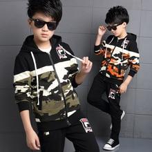 4 6 8 10 12 14 year Autumn Boys Fashion Camouflage Clothing Set Children's Military Uniform Track suit Kids Splicing Sport Suit