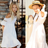 2017 Summer Girls White Dress Kids Baby Flower Lace Princess Dress Party Wedding Off Shoulder Pageant