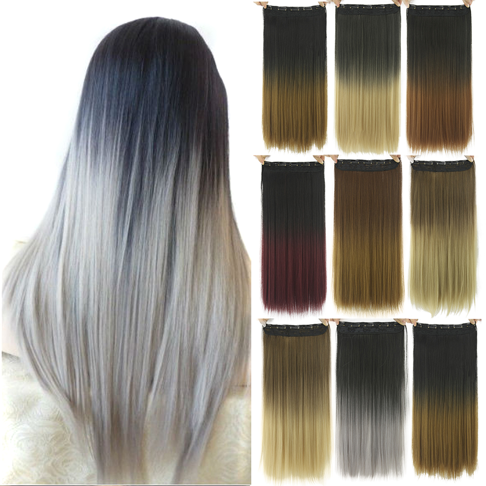 Soowee Long Straight Black To Gray Natural Color Women Ombre Hair High Tempreture Synthetic Hairpiece Clip In Hair Extensions