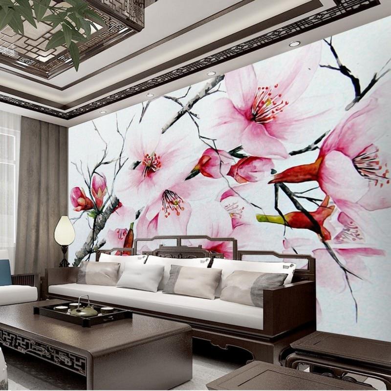 7e38bb5aa82ba9 Custom foto behang handgeschilderde Chinese Perzik Bloesem TV achtergrond  kinderkamer behang slaapkamer hotel maat muurschildering in Custom foto  behang ...