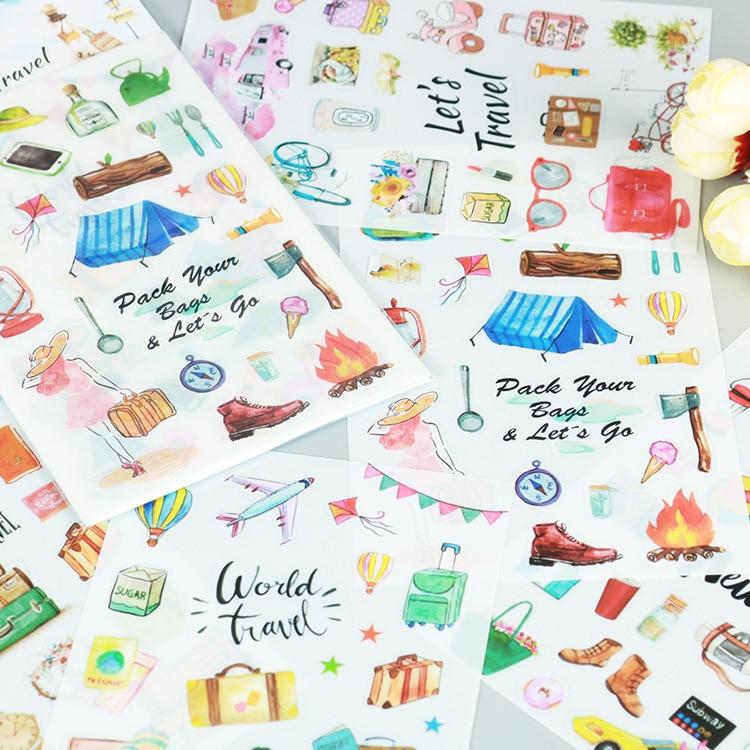 6 pcs/pack World Travel Cartoon Stickers Diary Sticker Scrapbook Decoration PVC Statione ...
