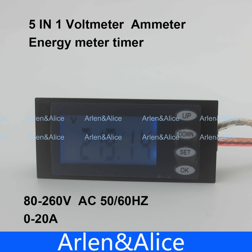 LCD 5IN1 display 20A Voltage current active power energy meter blue backlight panel voltmeter ammeter kwh 80-260V 50/60HZ