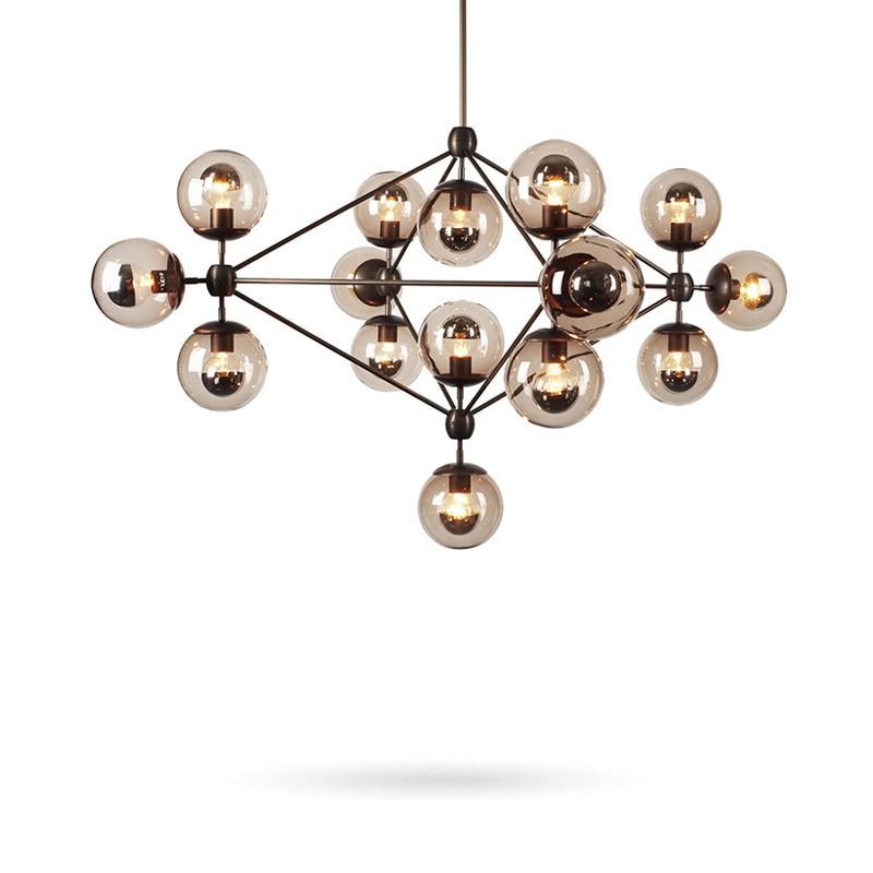 Industrial Vintage Loft Chandelier Lighting Living Room Kitchen Glass Ball Lampshade Lustre Shop Restaurant Decor Hanging