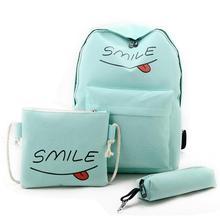 Kvky холст рюкзак женщины печати школьная сумка студентов Обувь для девочек Bookbags 3 комплекта письмо туристические рюкзаки