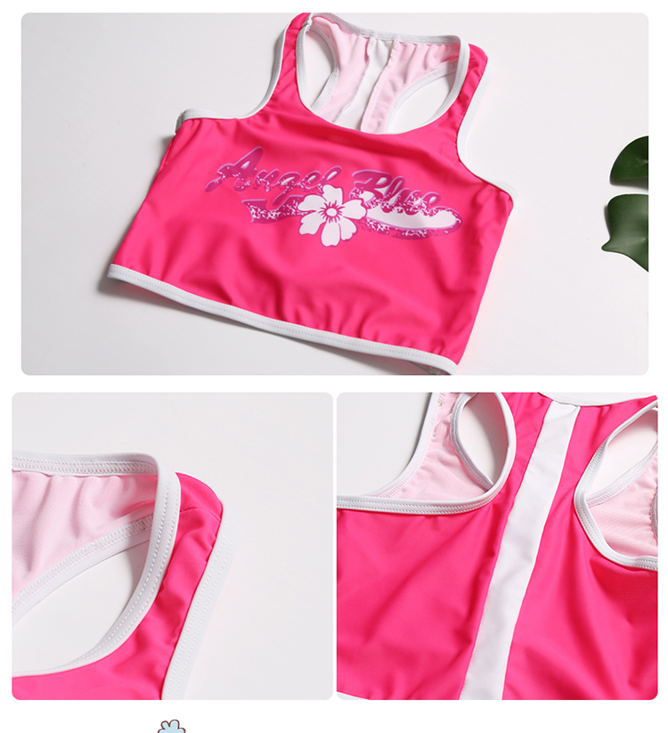 c03fe23b9a Kids Girls Swimwear Vest And Trunks Two Pieces Swimsuit Sleeveless ...
