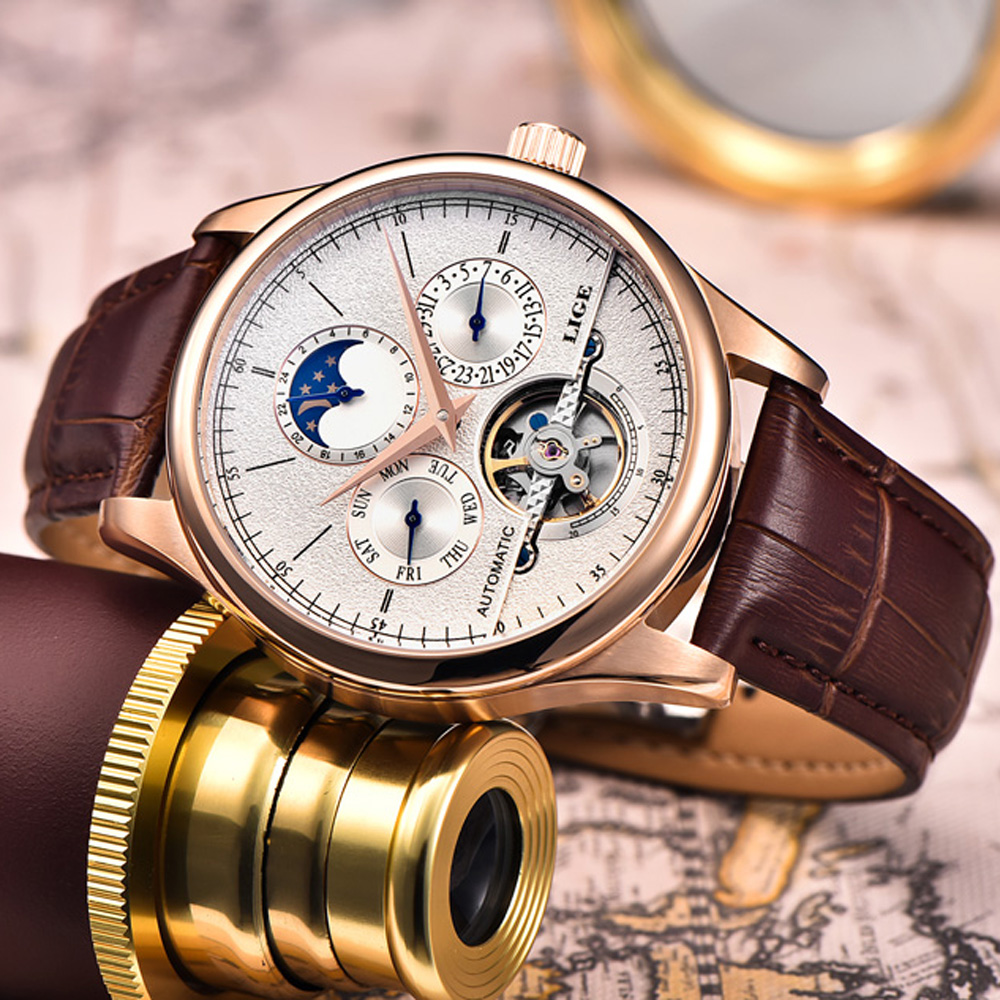 Relojes de Hombre de marca LIGE reloj mecánico automático reloj deportivo Tourbillon cuero Casual negocios Retro reloj de pulsera Hombre - 3