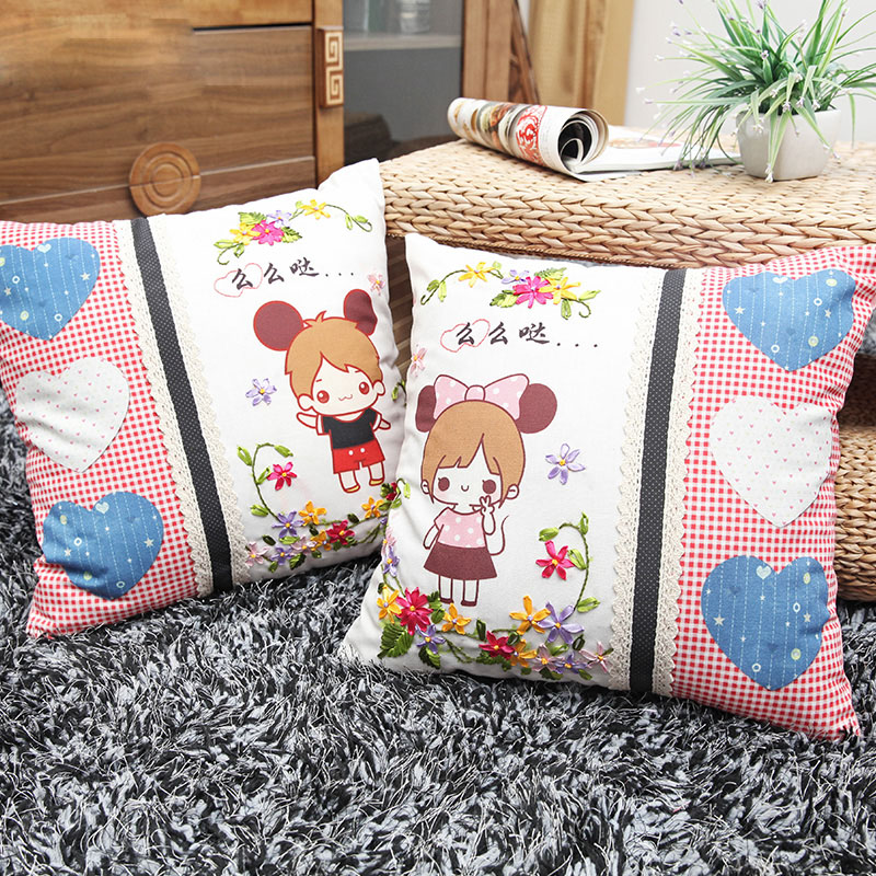 Cute Handmade Pillow Covers : Cute Cartoon Pillow Ribbon Embroidery Kit Toolkit Cushion Covers Pillow Cover Fashion Gifts ...